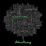 ADVERTISING. Word collage on black background. Vector illustration. Illustration with different association terms Stock Photos