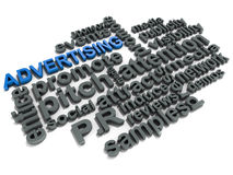 Advertising. Related words over white background, concept of marketing and advertisement Stock Image