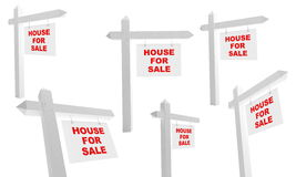 Advertising. Sale of house on a white background Royalty Free Stock Photography