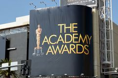 Advertising The Academy Awards. Large sign advertising the Academy Awards in Hollywood California Royalty Free Stock Photos