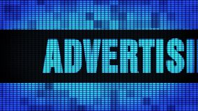 Advertising Agency Front Text Scrolling LED Wall Pannel Display Sign Board. Advertising Agency Front Text Scrolling on Light Blue Digital LED Display Board Pixel stock video