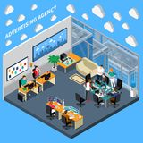 Advertising Agency Isometric Composition stock illustration