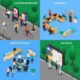 Advertising Agency Isometric Concept. Advertising agency isometric design concept with designers at workplaces, street billboard, outdoor ad placard isolated Royalty Free Stock Images