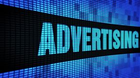Advertising Agency Side Text Scrolling LED Wall Pannel Display Sign Board. Advertising Agency Side Text Scrolling on Light Blue Digital LED Display Board Pixel stock video footage