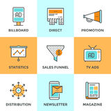 Advertising And Marketing Line Icons Set Royalty Free Stock Photo