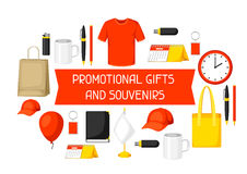 Advertising background with promotional gifts and souvenirs.  Stock Photos