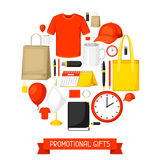 Advertising background with promotional gifts and souvenirs.  Royalty Free Stock Image