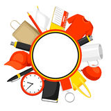Advertising background with promotional gifts and souvenirs.  Stock Image