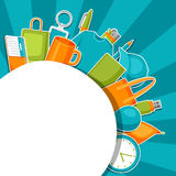 Advertising background with promotional gifts and souvenirs.  Royalty Free Stock Images