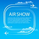 Advertising banner for air show. Air show. Manoeuvres two military fighters. The aircrafts leave white plumes smoke in the blue sky. Aerobatics. Banner for the Royalty Free Stock Images