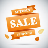 Advertising banner. Autumn sale. Shop now. Colorful vector illustration. Royalty Free Stock Images
