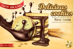 Advertising banner for chocolate sandwich cookies vector illustration