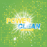 Advertising banner of detergent. Power Clean on light effect background Royalty Free Stock Photo