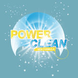 Advertising banner of detergent. Power Clean on light effect background Royalty Free Stock Photos