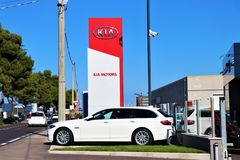 Kia Motors, totem and car. royalty free stock photo