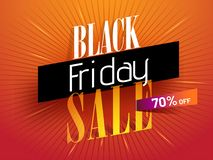 Advertising banner or poster design with 70% discount offer for. Black Friday Sale vector illustration