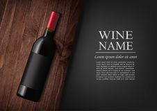 Advertising banner.A realistic bottle of red wine with black label in photorealistic style on wooden dark board,black. Vector illustration.Advertising banner.A Stock Photos