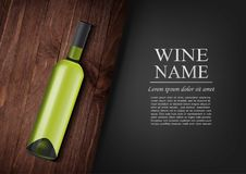 Advertising banner.A realistic bottle of white wine with black label in photorealistic style on wooden dark board,black. Vector illustration.Advertising banner.A Royalty Free Stock Image