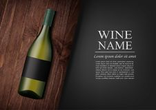 Advertising banner.A realistic bottle of white wine with black label in photorealistic style on wooden dark board,black. Vector illustration.Advertising banner.A Royalty Free Stock Photos