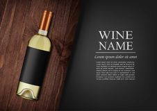Advertising banner.A realistic bottle of white wine with black label in photorealistic style on wooden dark board,black. Vector illustration.Advertising banner.A Royalty Free Stock Photo