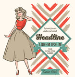 Advertising banner in retro american style, 1950s styled woman Royalty Free Stock Photos