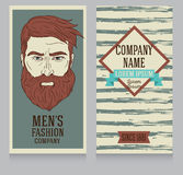 Advertising banner in retro american style, trendy man with beard Stock Photography