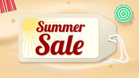 Advertising banner sales with typography. Summer sale ad on the background of a sandy beach with sea sur Stock Photos