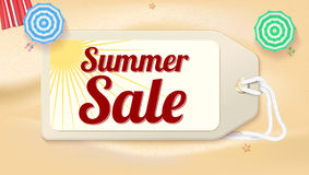 Advertising banner sales with typography. Summer sale ad on the background of a sandy beach with sea sur Stock Image
