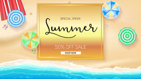 Advertising banner sales with typography. Summer sale 50 percent discount, buy now Stock Photo