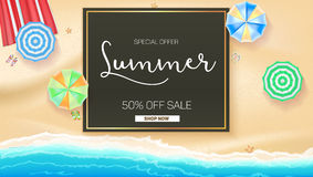 Advertising banner sales with typography. Summer sale 50 percent discount, buy now. Advertising on the background of a sandy beach with sea surf, sun umbrella Stock Illustration