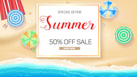 Advertising banner sales with typography. Summer sale 50 percent discount, buy now. Advertising on the background of a sandy beach with sea surf, sun umbrella Stock Photos
