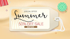 Advertising banner sales with typography. Summer sale 50 percent discount, buy now Stock Images