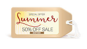 Advertising banner sales with typography. Summer sale 50 percent discount, buy now Stock Image