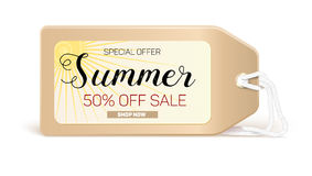Advertising banner sales with typography. Summer sale 50 percent discount, buy now. Advertising in retro style on the label, tag with the bright sun Stock Images