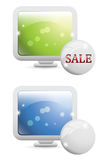 Advertising Banners. Computer monitor advertising sale banners for web or print vector illustration