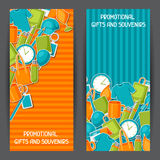 Advertising banners with promotional gifts and souvenirs.  Stock Images