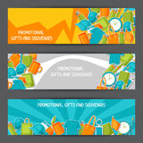 Advertising banners with promotional gifts and souvenirs Royalty Free Stock Photo