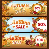 Advertising banners for thanksgiving autumn sale with lettering stock illustration