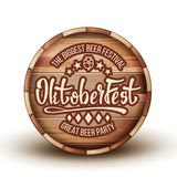 Advertising Beer Festival On Brown Barrel Vector. Engraving Invitation On Biggest Great Party Festival Oktoberfest For Drink Delicious Beverage On Wooden royalty free illustration