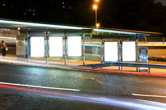Advertising billboard. Blank advertising billboard on bus stop stock images