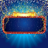 Advertising billboard. With fireworks and confetti. Ready for celebrating and entertainment text&design. To see similar - please visit at my gallery Royalty Free Stock Photo