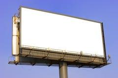 Advertising billboard. Modern advertising billboard on a blue sky stock photo