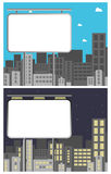 Advertising billboard. Blank advertising billboard against city skyline, day and night version. EPS file available royalty free illustration
