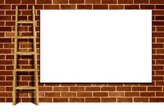 Advertising billboard on a brick wall Stock Photos