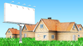 Advertising billboard with houses Stock Image