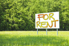 Advertising billboard informs that the land is free to be rented Royalty Free Stock Images