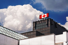 Advertising billboard sign with Canadian flag Royalty Free Stock Photography