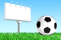 Advertising billboard with soccer ball Royalty Free Stock Photo