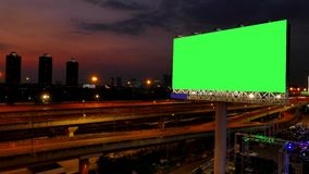 Advertising billboard of twilight. Green screen of advertising billboard on expressway of twilight in Bangkok, Thailand. time lapse stock video