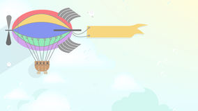 Advertising blimp airship Vector cartoon style background Stock Photography